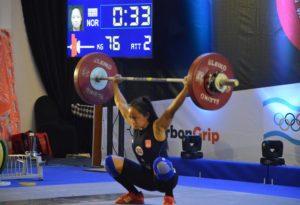 Sarah Hovden Øvsthus 76 kg rykk EM jr 2016